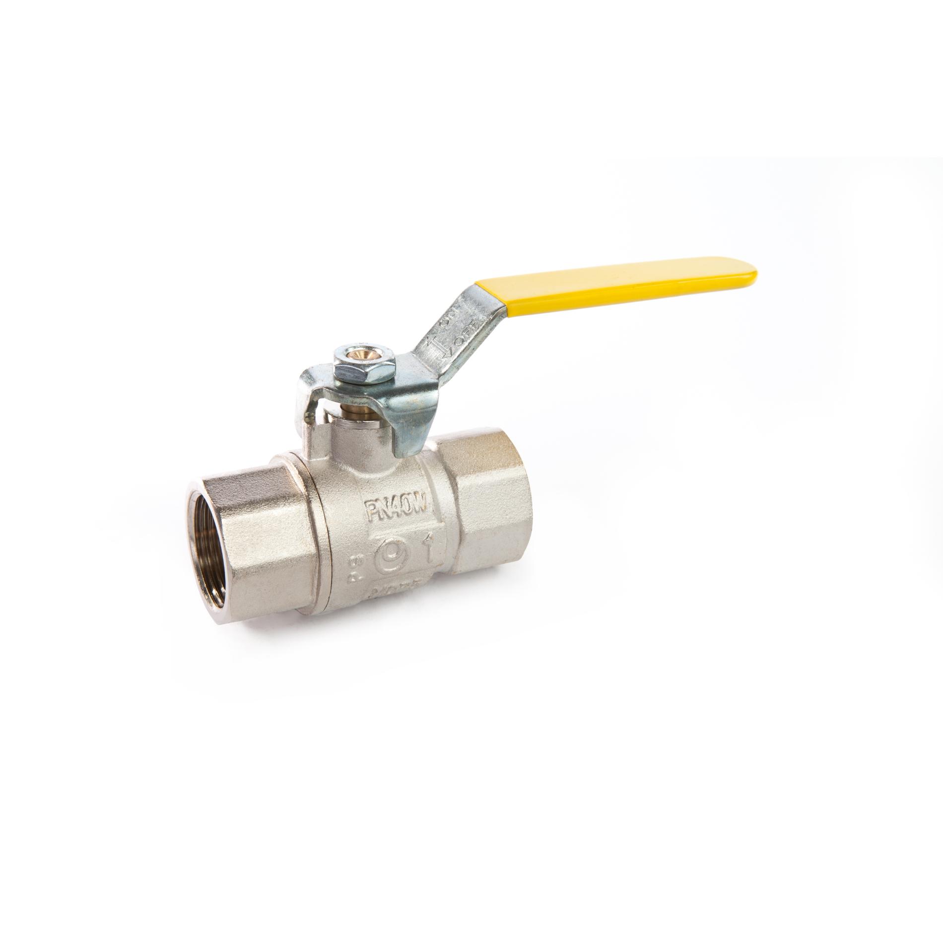 017 Valvola a sfera a passaggio totale per gas metano FxF tipo pesante con leva Full bore brass ball valve heavy type with lever