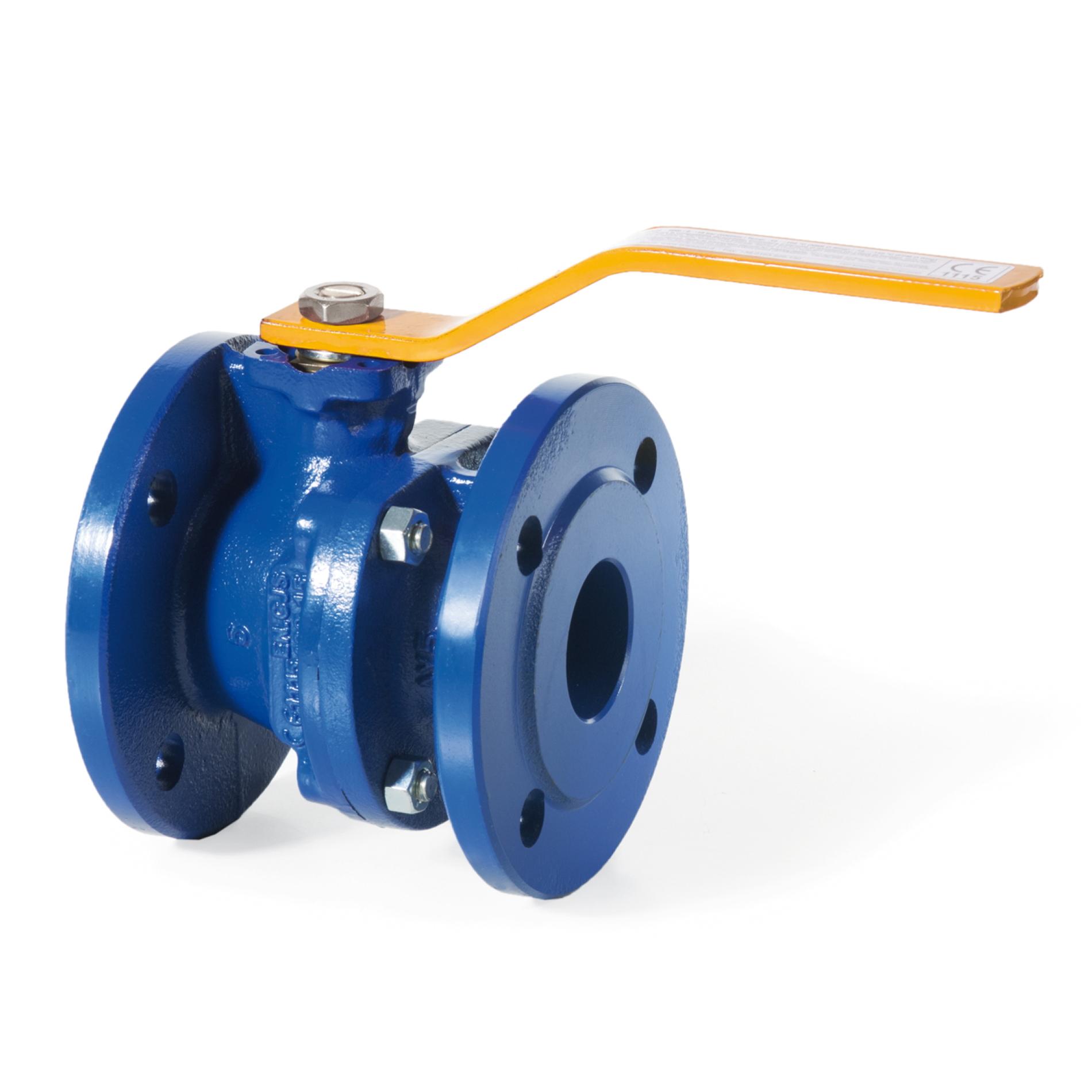 160 Valvola a sfera in ghisa a passaggio totale per gas metano con attacchi flangiati Full bore cast iron ball valve flanged PN 16
