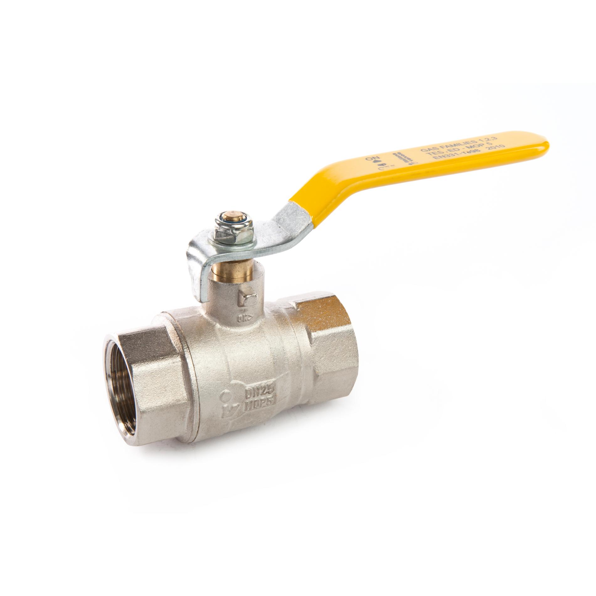 187 Valvola a sfera a passaggio totale per gas metano FxF con leva Full bore brass ball valve for gas FxF with lever