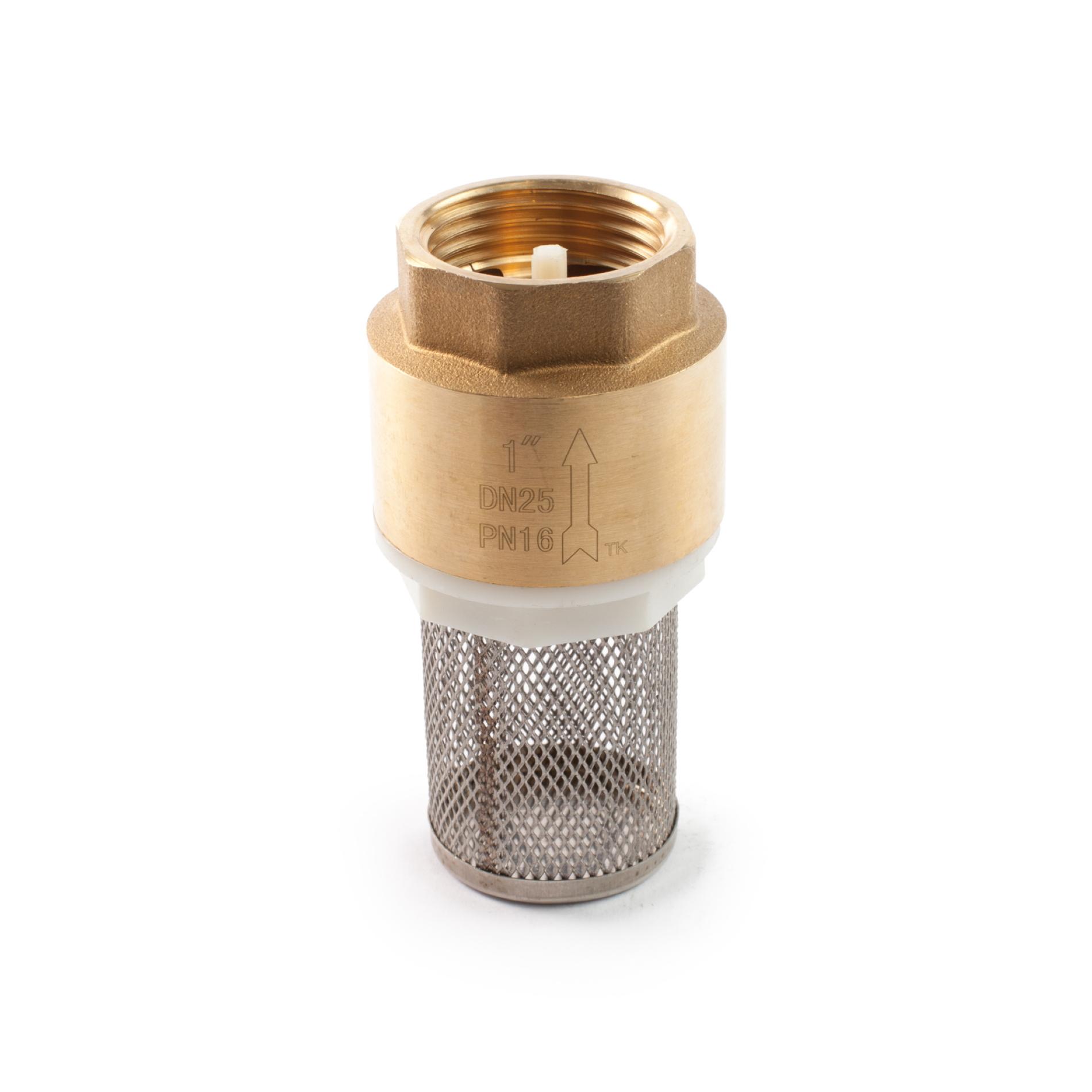 477 Valvola fondo ottone succhieruola acciaio inox incorporata Brass foot valve non-detachable stainless steel strainer