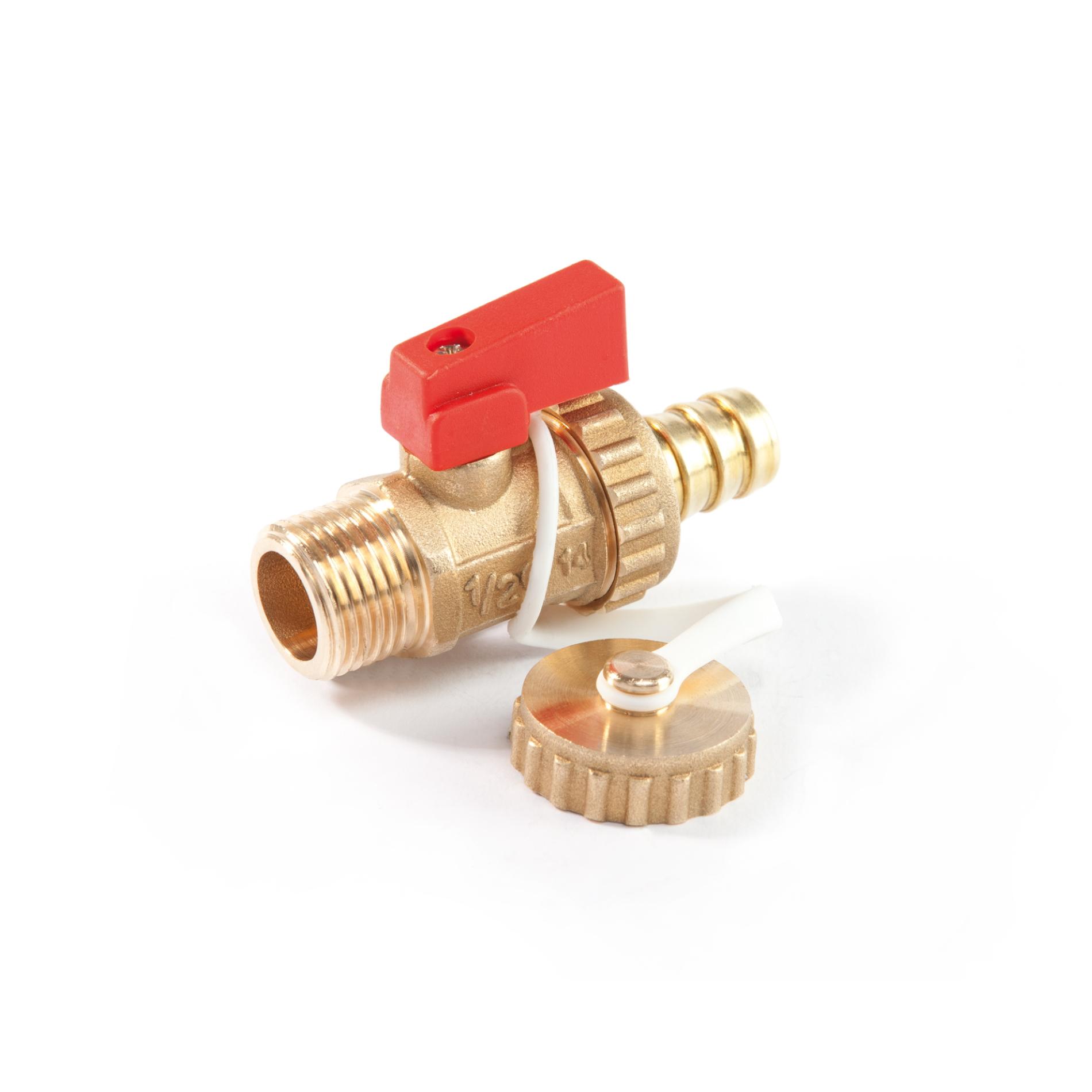 519S Rubinetto a sfera scarico caldaia portagomma e tappo sabbiato giallo Boiler drain ball valve brass mat finishing