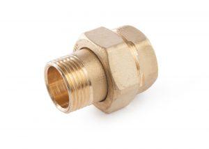 603 Raccordo diritto in tre pezzi MxF tenuta o-ring NBRBrass three-piece straight coupling MxF NBR o-ring rubber sea