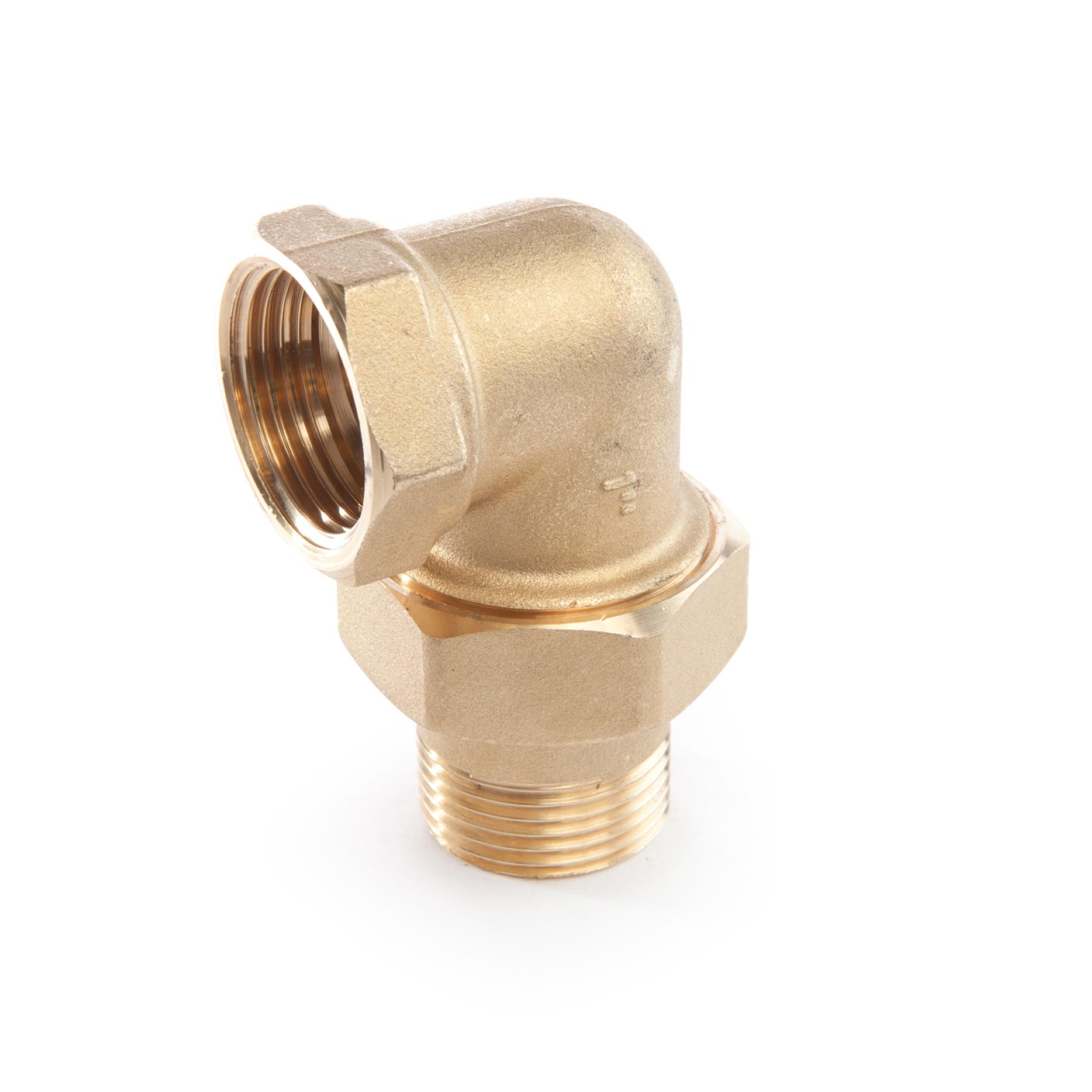 604 Raccordo curvo in tre pezzi MxF tenuta o-ring NBR Brass three-piece elbow MxF NBR o-ring rubber seal