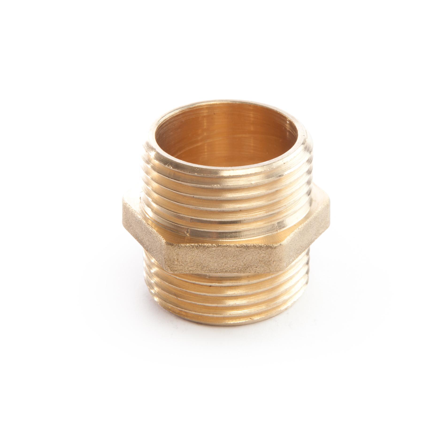 972 Nipplo doppio MxM double nipple brass threaded filettato ottone
